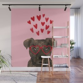 Pitbull head love hearts valentines day gifts for dog breed pibble lovers Wall Mural