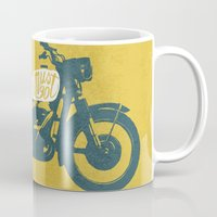 grease Mugs featuring streets by The Junkers