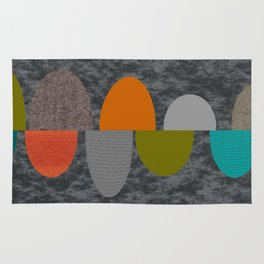 Mid-Century Modern Abstract Ovals Rug