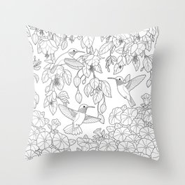 Hummingbirds and Flowers Coloring Page Throw Pillow