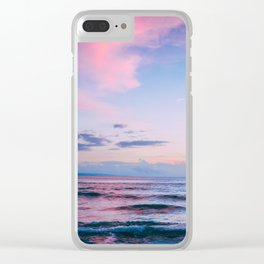 Pink and Blue Ocean Sunset Clear iPhone Case