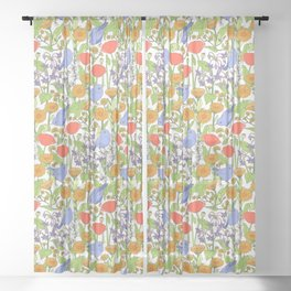 Birds and Wild Blooms Sheer Curtain