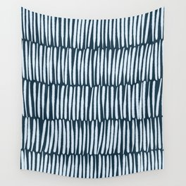 Inspired by Nature   Organic Line Texture Dark Blue Elegant Minimal Simple Wall Tapestry