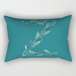 turquoise flower alphabet Z Rectangular Pillow
