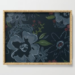 Moody Blues Floral Pattern Serving Tray