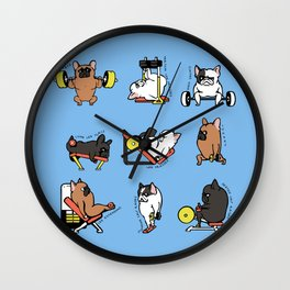 Leg Day with French Bulldog Wall Clock