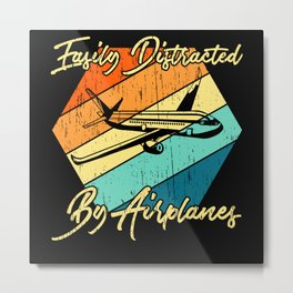 Easily Distracted By Airplanes Pilot Metal Print