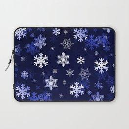 Dark Blue Snowflakes Laptop Sleeve