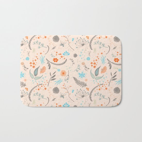 Floral Pattern with Flowers and Leaves Bath Mat