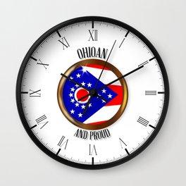 Ohio Proud Flag Button Wall Clock