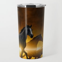 Wild Black Horses Travel Mug