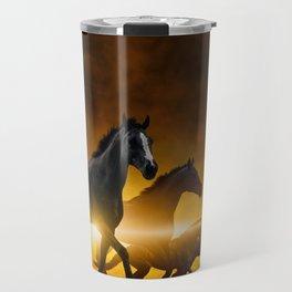 Wild Black Horses Travel Mug