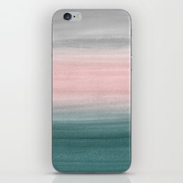 Touching Teal Blush Gray Watercolor Abstract #1 #painting #decor #art #society6 iPhone Skin