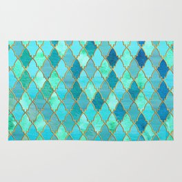 Aqua Teal Mint and Gold Oriental Moroccan Tile pattern Rug