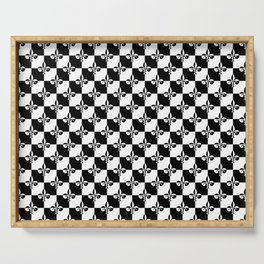 Black and White Checkerboard Checked Squares with French Fleur de Lis Serving Tray