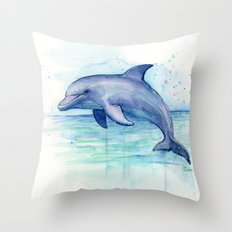 Dolphin Watercolor Sea Creature Animal Throw Pillow