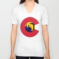 colorado V-neck T-shirts featuring Colorado by The Raff