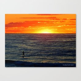 Paddle Boarding at Sunset Canvas Print