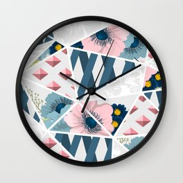 Colorful Geometric Flowers Pattern Wall Clock