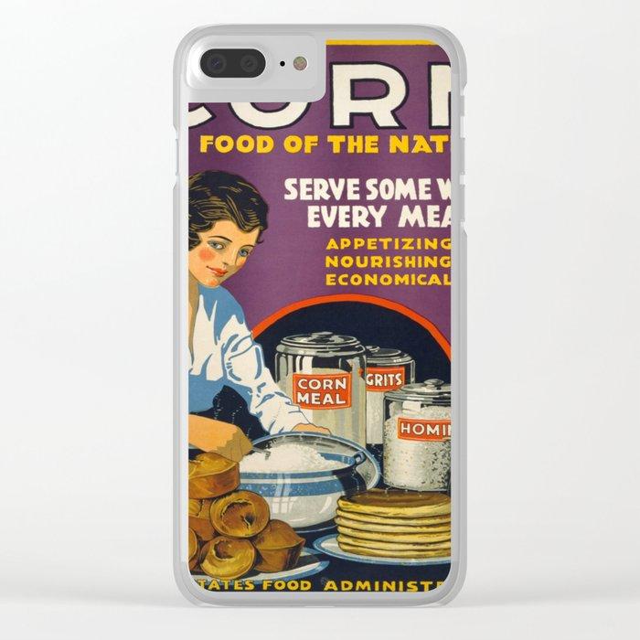 Vintage Corn food Clear iPhone Case