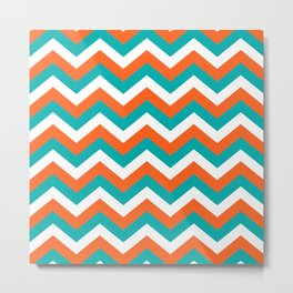 Teal & Orange Chevron Pattern Metal Print