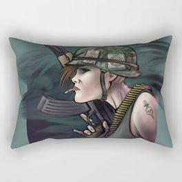 AK47 Soldier Girl Rectangular Pillow
