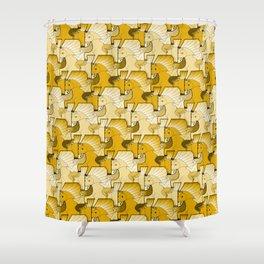 A faun riding an unicorn in orange. Shower Curtain