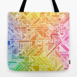 Bright Gradient (Hot Pink Orange Green Yellow Blue) Geometric Pattern Print Tote Bag