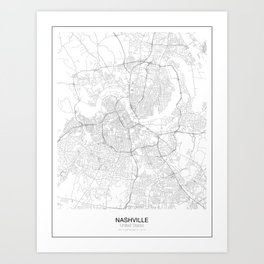 Nashville, United States Minimalist Map Art Print