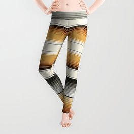 Navajo White, Gray, Black and Amber Brown Southwest Serape Blanket Stripes Leggings
