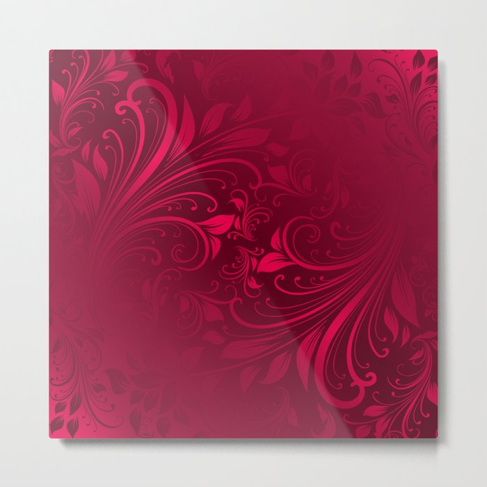 Red maroon swirls leaves Metal Print