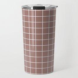 Burnished brown - violet color - White Lines Grid Pattern Travel Mug