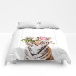 Tiger Cub with Flower Crown Comforters
