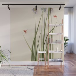 oriental style painting, tall grasses and flowers Wall Mural