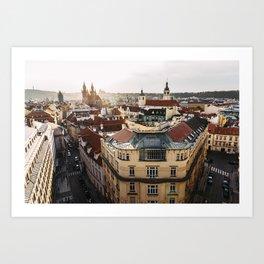 Prague Cityscape at sunset Art Print