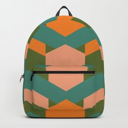 California Retro Deco Pattern in Peach Orange Teal Backpack