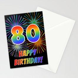 "80th Birthday ""80"" & ""HAPPY BIRTHDAY!"" w/ Rainbow Spectrum Colors + Fun Fireworks Inspired Pattern Stationery Cards"
