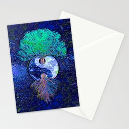 Tree of Life Yin Yang Earth Space Stationery Cards