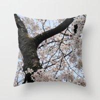 cyarin Throw Pillows featuring Sakura Blooming (Japan) by Julie Maxwell