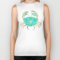 crab Biker Tanks featuring Crab – Turquoise & Gold by Cat Coquillette