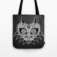 majoras mask Tote Bags featuring Sugarskull / Majoras mask / black'n'white by tshirtsz