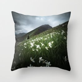 Mountain Golica and Narcissus flowers Throw Pillow