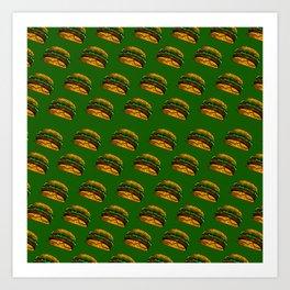 Burger Pattern Burger Fast Food Cheese Burger Art Print