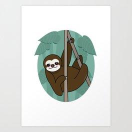 Kawaii sloth Art Print