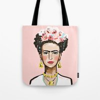 frida kahlo Tote Bags featuring Frida Kahlo by devinepaintings