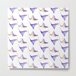 Stingrays Pattern in Watercolor | Purple and Ochre Color Palette Metal Print