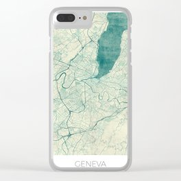 Geneva Map Blue Vintage Clear iPhone Case