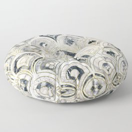 Monochrome Art Deco Marble Tiles Floor Pillow