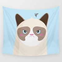 grumpy Wall Tapestries featuring Grumpy Cat by Reg Silva / Wedgienet.net