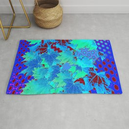 MODERN ART BLUE AUTUMN LEAVED ABSTRACT Rug